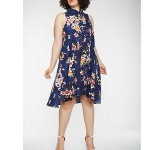 [Mlle Gabrielle] Navy Blue Floral Shirt Dress